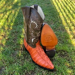 Mens Cowboy Boots Aligator Embossed Print Leather